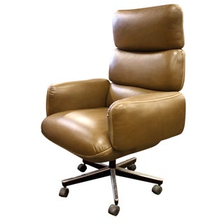 Knoll Zapf Medium Brown Leather Office Chair