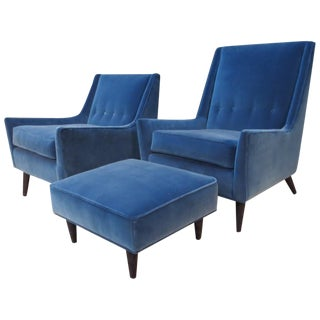 Milo Baughman Chairs & Ottoman Set in Azure