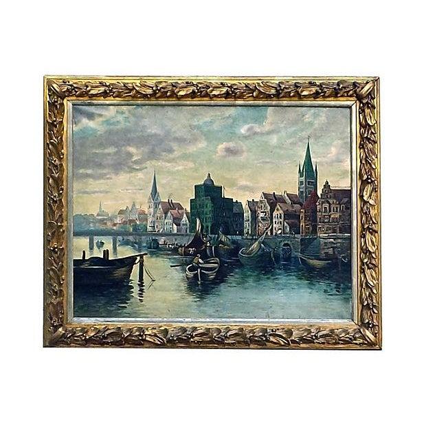 O. Gilbert Antique Harbor Scene Oil Painting - Image 1 of 4