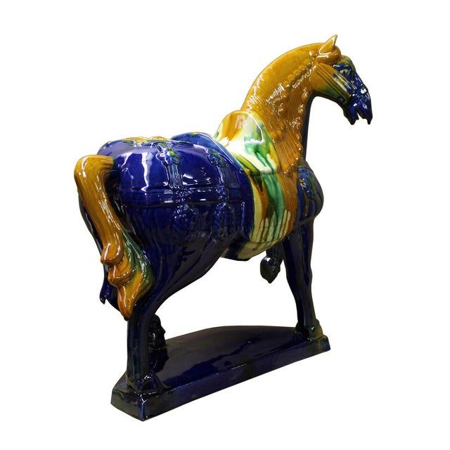 Chinese Blue & Yellow Ceramic Marching Horse Figure - Image 5 of 6