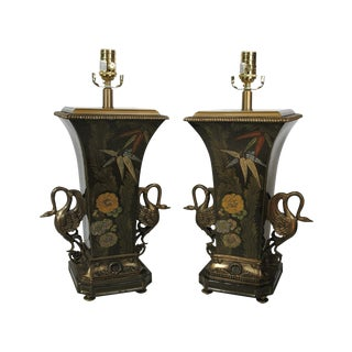 Porcelain & Brass Lamps - A Pair