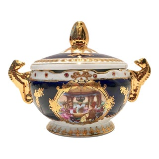 Vintage French Sevres Style Limoges Cobalt and 22-Karat Lidded Jar