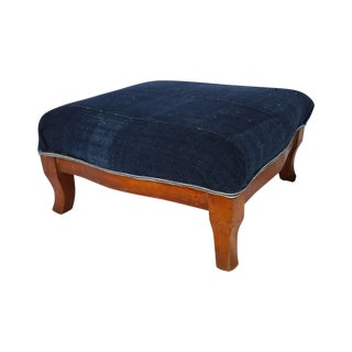 Indigo Homespun Foot Stool