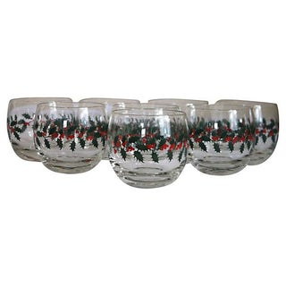Holly Leaf Roly Poly Glasses - Set of 8