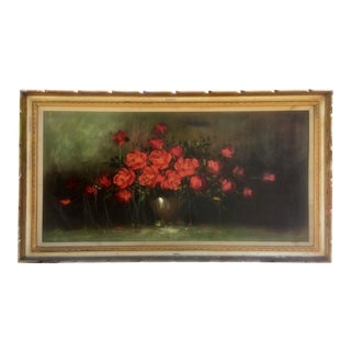 Crackled Red Flowers Oil Painting