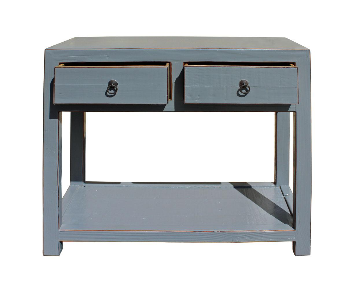 Chinese Gray Raw Wood Console Table   Image 4 Of 6