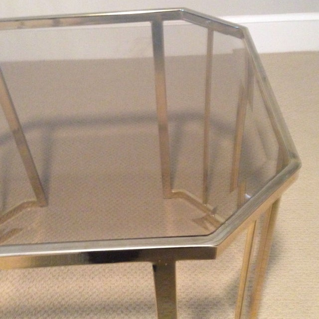 Glass & Brass Side Table - Image 4 of 7