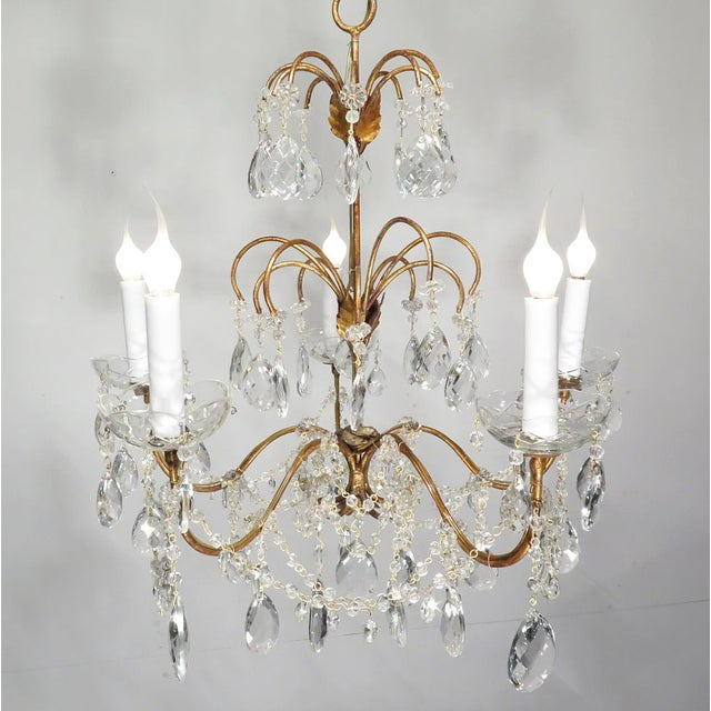 Vintage Chandelier Gold Fixture Dripping Crystals - Image 3 of 6