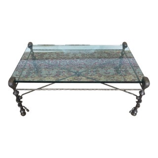 Polished & Hammered Steel Glass Top Coffee Table