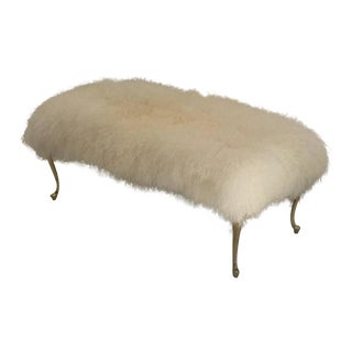 Mongolian Lamb Wool Bench Footrest with Cabriolet Brass Legs