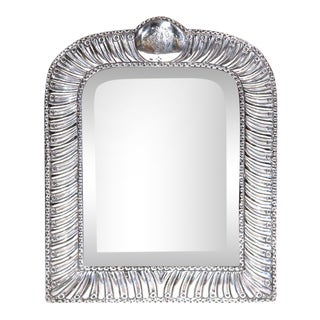19th Century French Repousse Silver Table Frame With Beveled Glass