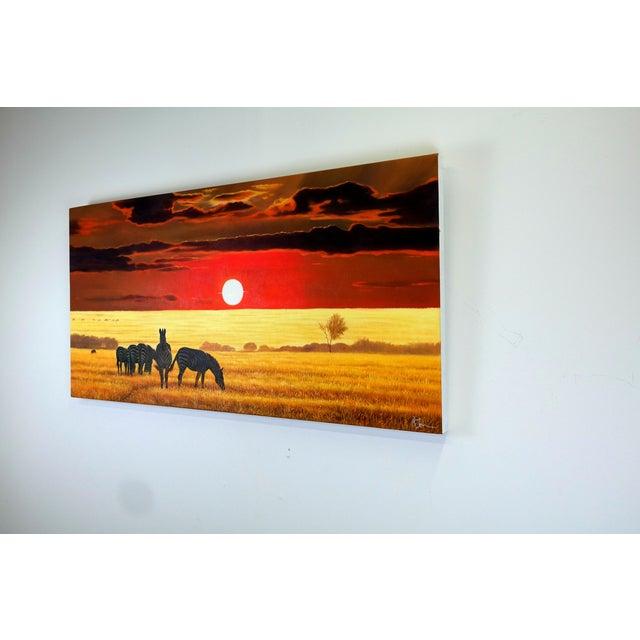 Oil Painting of Zebras at Dusk on the Savanna - Image 3 of 5