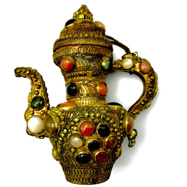 Antique 19th Century Tibetan Copper and Gold Filigree Flagon With Polished Agate Gemstones - Image 2 of 10