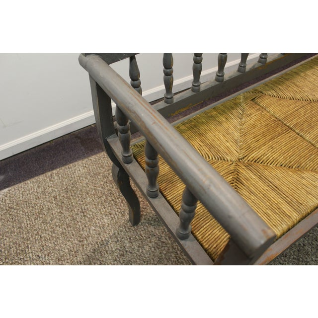 Painted Country French Triple Rush Seat Bench - Image 7 of 11