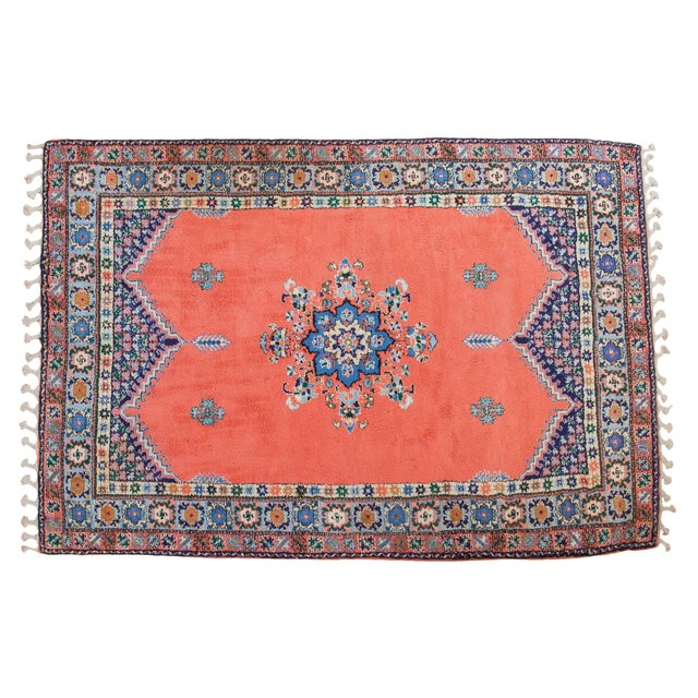 "Vintage Red & Blue Moroccan Rug - 6'8"" X 9'6"" - Image 1 of 9"