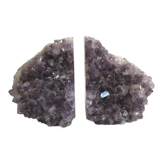 Large Geode Amethyst Bookends - a Pair