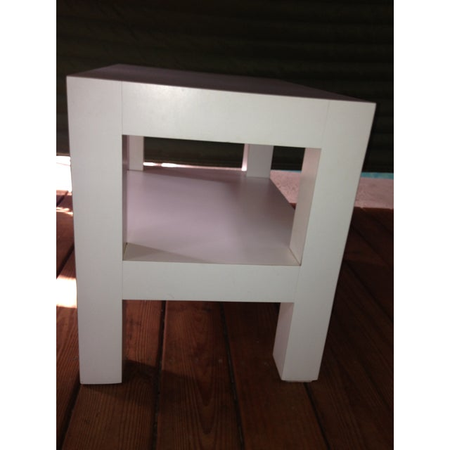 Image of Milo Baughman Mid-Century White Parsons Side Table