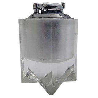 Vintage Crystal Faceted & Chrome Atomic Lighter