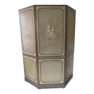 1930s French Painted Leather Room Divider