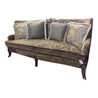 Custom Hand-Carved Upholstered Sofa