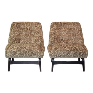 Beige Jacquard Slipper Chairs - A Pair