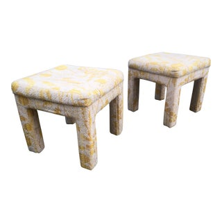 Vintage Yellow & White Benches Stools Ottomans- A Pair