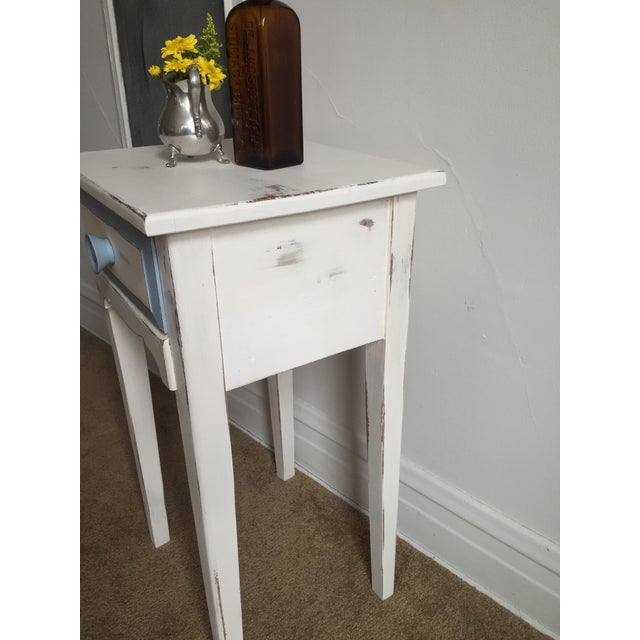 Image of Antique Hand Painted White & Blue Side Table
