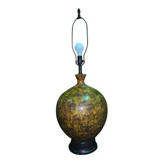 Italian Glazed Pottery Textured Bulbous Lamp