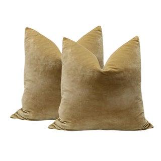 "20"" Camel Italian Silk Velvet Pillows - a Pair"
