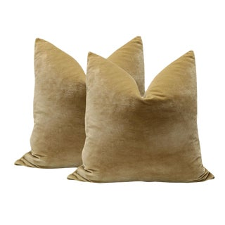 "Pair of 20"" Italian Silk Velvet Pillows in Camel"