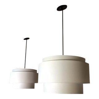Rejuvenation Tiered Linen Drum Pendant Lights- A Pair