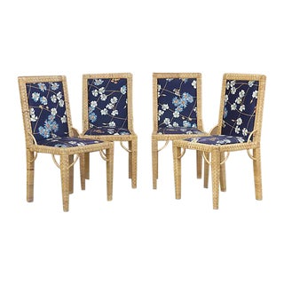 Vintage Upholstered Woven Cane Chairs - Set of 4
