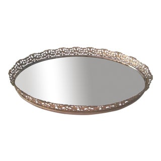 Gold Floral Filigree Mirrored Vanity Tray