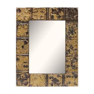 Tan & Brown Tin Mirror