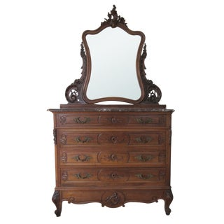 French Louis XV Dresser & Mirror Marble Top
