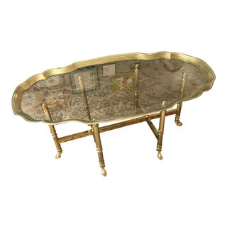 Vintage Regency Coffee Table, Brass Pie Crust with Hooved Feet