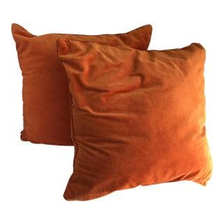 Velvet Tangerine Throw Pillows - A Pair