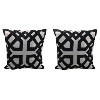 Black and Natural Linen Pillow Covers - A Pair