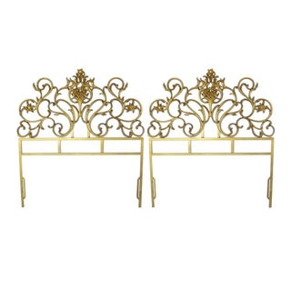 Gold Cast Iron Headboards, Twin - A Pair