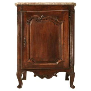 18th C. French Walnut Louis XV Marble Top Cupboard