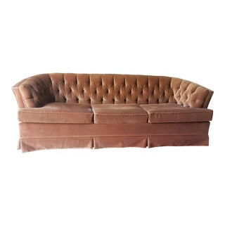 Vintage Hollywood Regency Tufted Brown Sofa