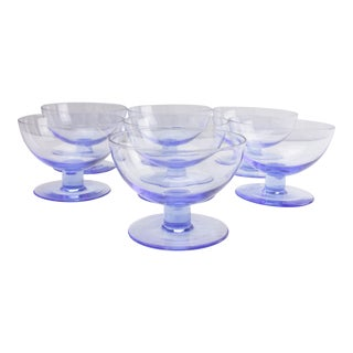 French Blue Coupe Glasses - Set of 7