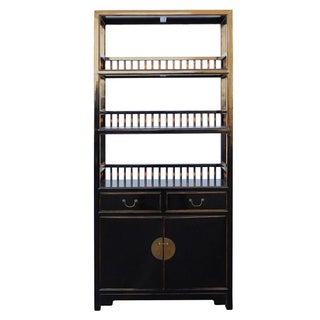 Chinese Distressed Gloss Black Bookcase Display Cabinet cs2027C