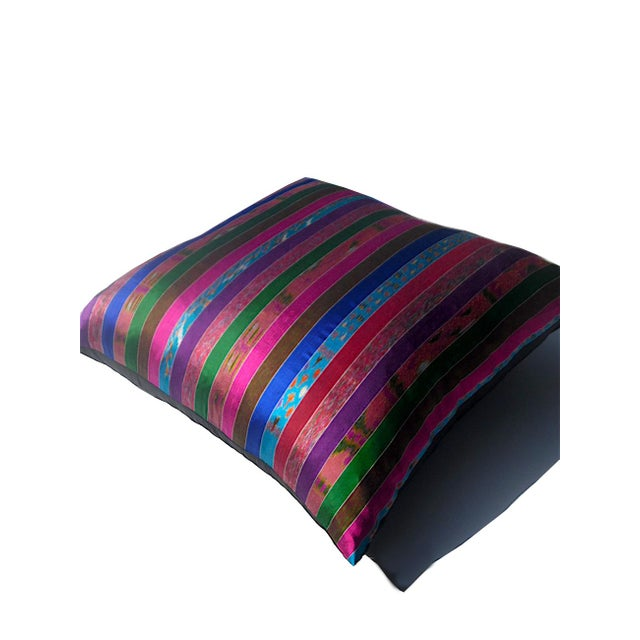 Silk Ikat Multi Stripe Floor Pillow - Image 6 of 7
