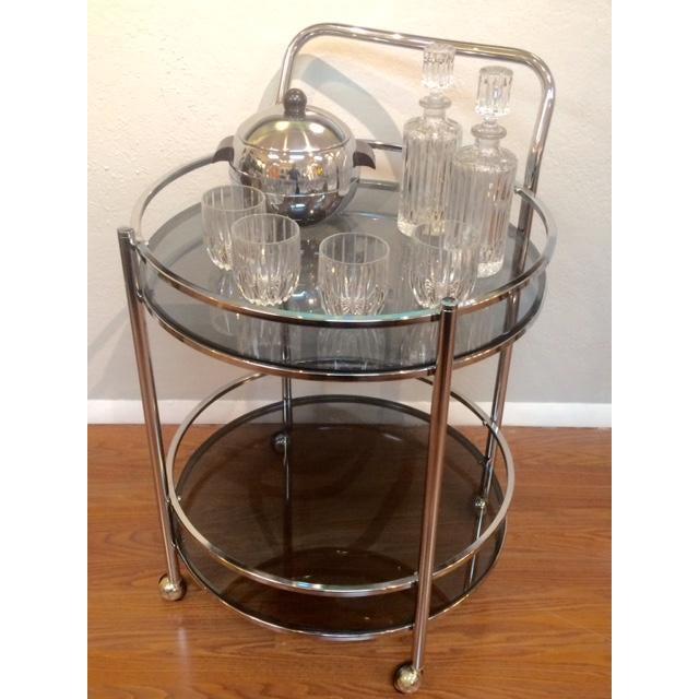 Vintage Milo Baughman Style Round Bar Cart - Image 5 of 5