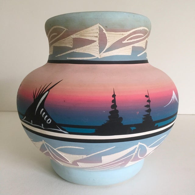 Vintage Signed Navajo Native American Pink Mesa Sunset Hand Painted Pottery Vase - Image 2 of 11
