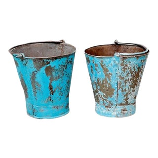 Indian Blue Iron Bucket