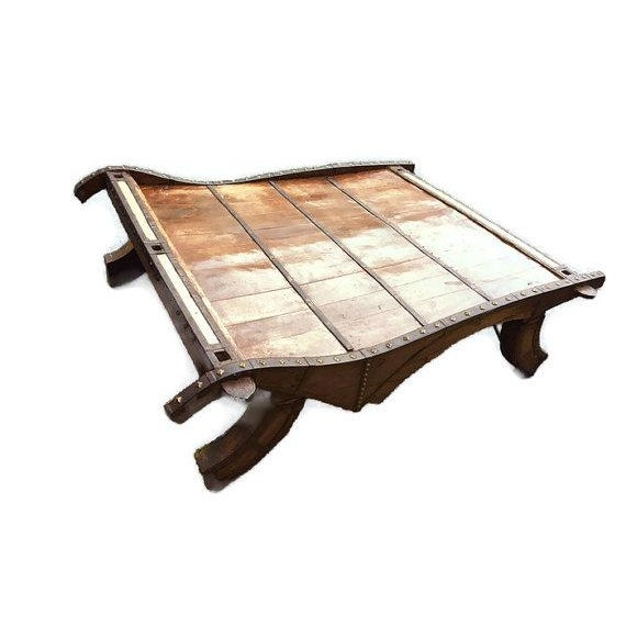 Antique Indian Coffee Tables: Vintage Indian Ox Cart Coffee Table