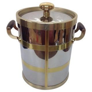 Mid-Century Chrome & Brass Ice Bucket