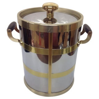Mid-Century Chrome & Brass Ice Bucket